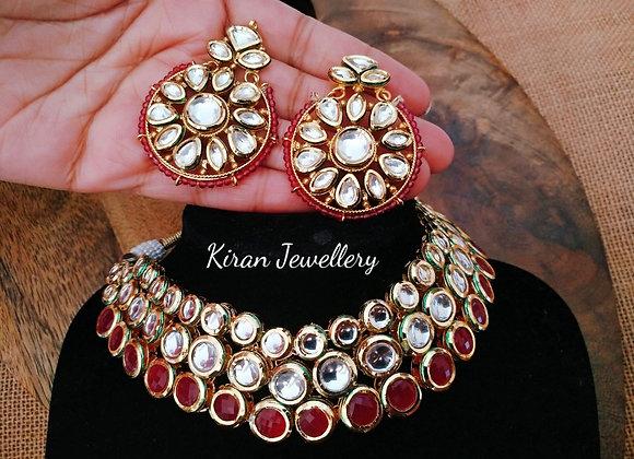 Ruby Color Elegant  Kundan Necklace