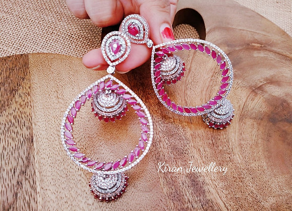 Ruby White Polished Earrings