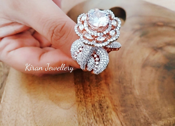 Dual Tone Rose Flower Cocktail Ring