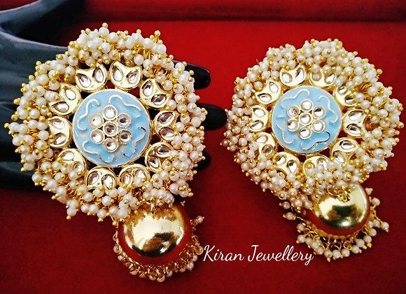 Kundan Jhumki With Woven Pearls