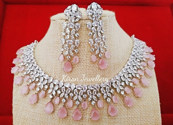White Polish Pink Colored Stone Necklace