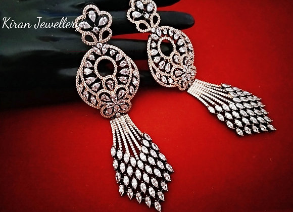 Black Polish Long Earrings
