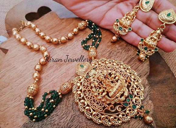 Green Mala Temple Jewellery