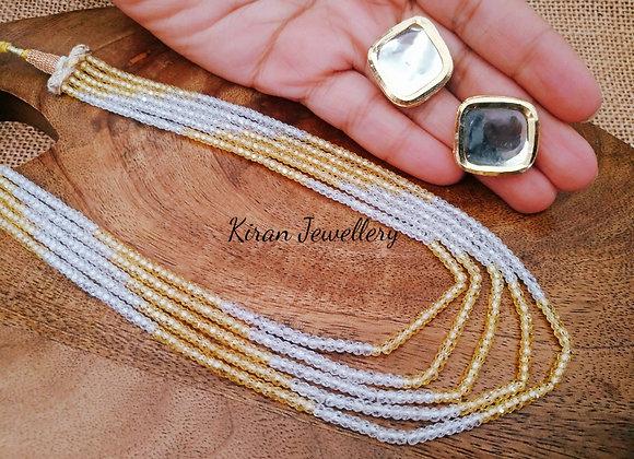 Pastel Shade Mala With Kundan Studs