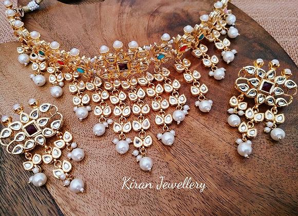 Multicolor Kundan Choker Necklace Set