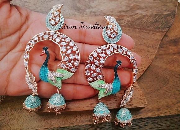 Long and Elegant Peacock Earrings