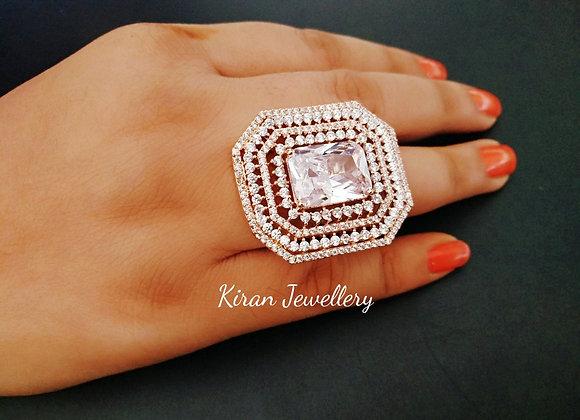White Stone Lovely AD Ring