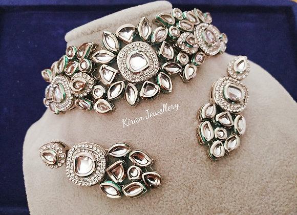White Polish Kundan Necklace