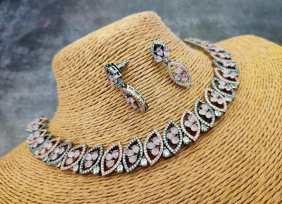 Elegant Black Rose Polish Pink Stone Necklace