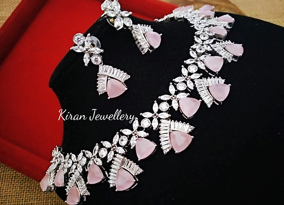 Pink Colored Stone Necklace