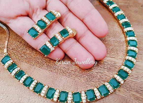 Elegant Green AD Necklace Set