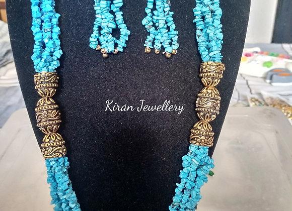 Blue Mala With Earrings