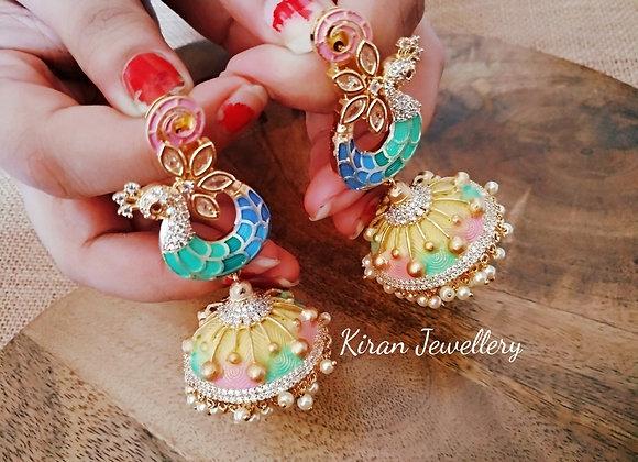 Peacock Earrings With Multicolor Jhumki
