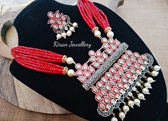 Red Mala red Color Inverted Mala Set