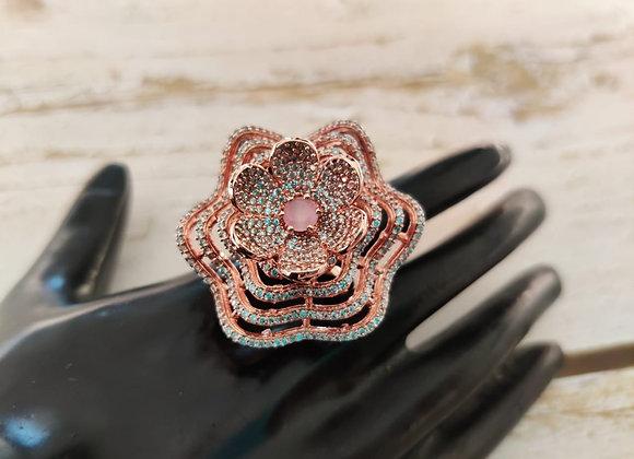 Rose Finish Stylish Flower Ring
