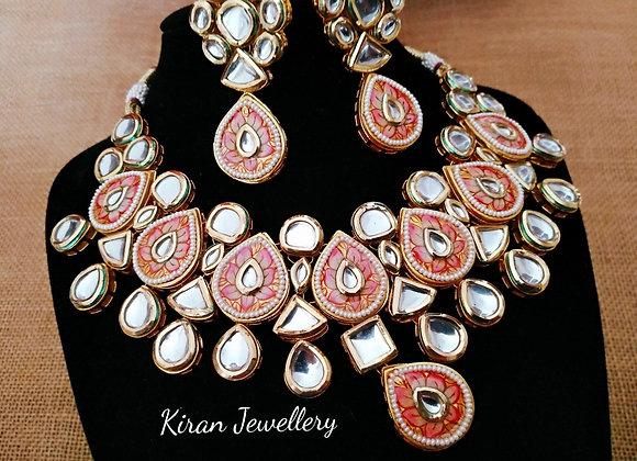 Pink Meena Kundan Set