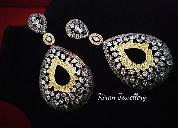 Elegant Oxidised Long Earrings