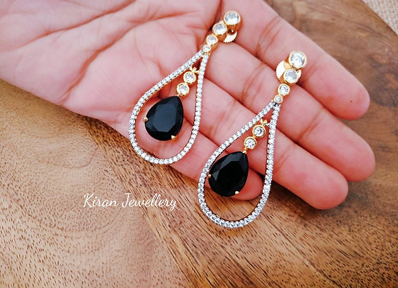Black Stone Elegant Earrings