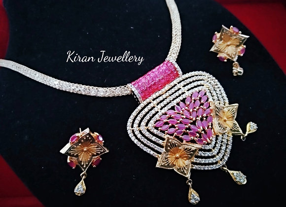 Ruby Color Pendant Set