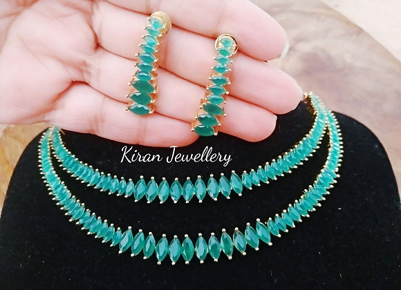 Double Layer Green Color Elegant AD Necklace