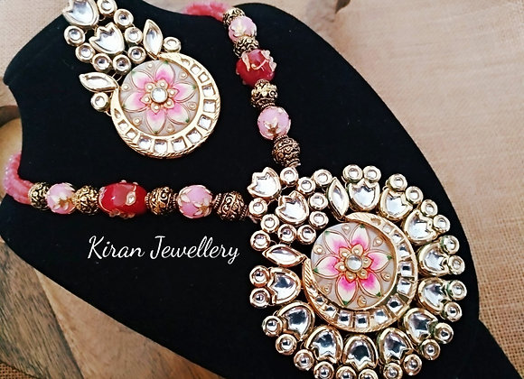 Pink Color Kundan Necklace