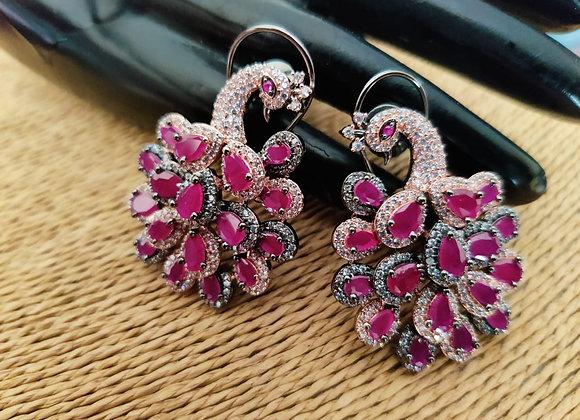 Peacock Earrings in Ruby Stone