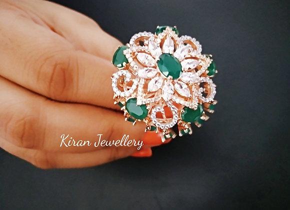 RoseGold Polish Green ColorElegant Ring