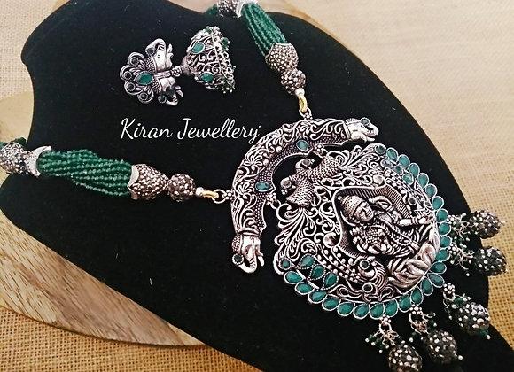 Oxidized Temple Jewellery With Onyx Mala