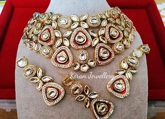Ruby Meena Kundan Necklace