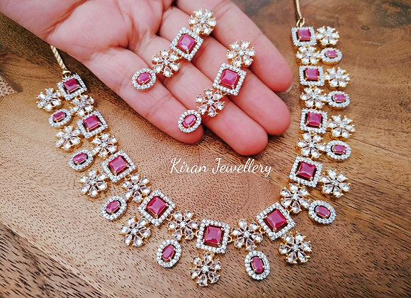 Ruby Color AD Necklace