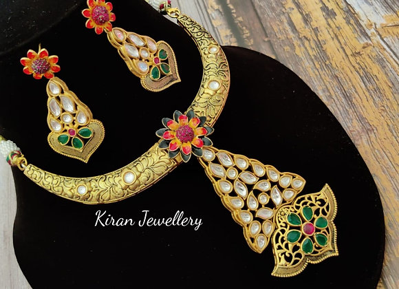 Indo-Western Fusion Green Necklace