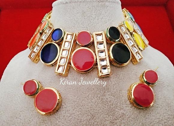 Multicolor Choker Set
