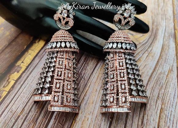Black Rose Polish Elegant Earrings
