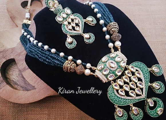 Green Color Kundan Set