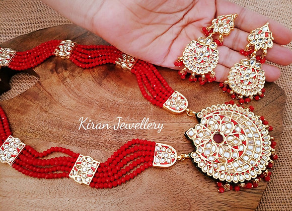 Kundan Red Mala Set