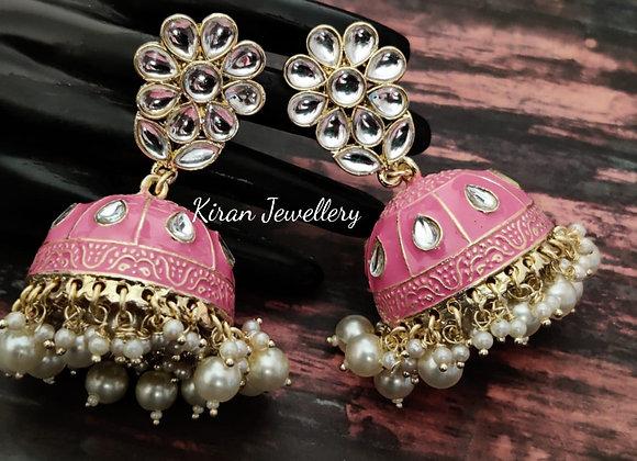 Pink Meena Jhumki
