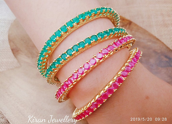Ruby and Green Colored Bangles