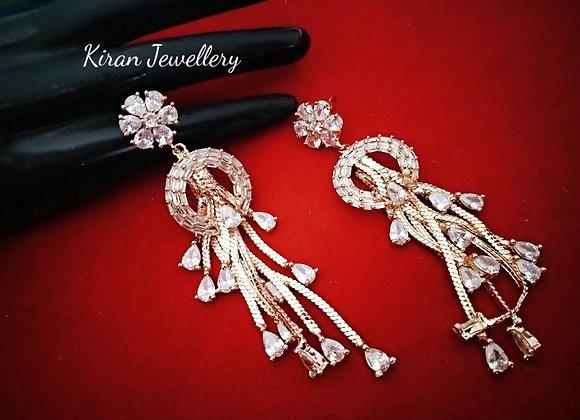 Elegant AD Earrings In RoseGold Polish