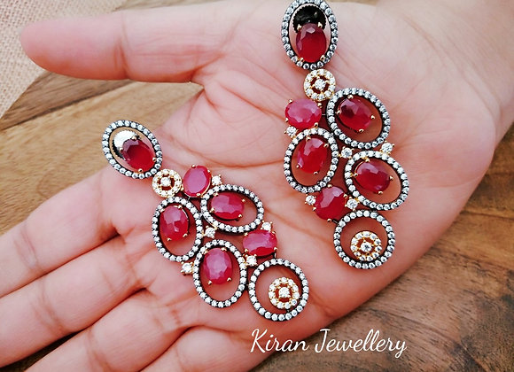 Ruby Colored Elegant Earrings