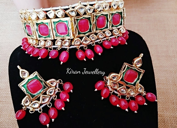 Kundan Choker in Ruby Color
