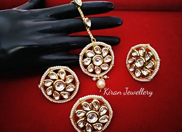 Kundan Earrings Mangtikka and Ring combo