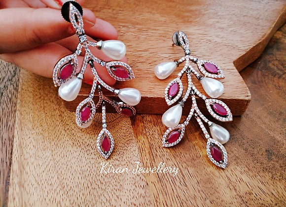 Ruby Stone and Pearl Earrings