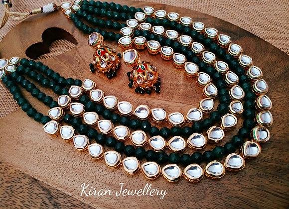 Elegant And Stylish  Green Mala Kundan Set