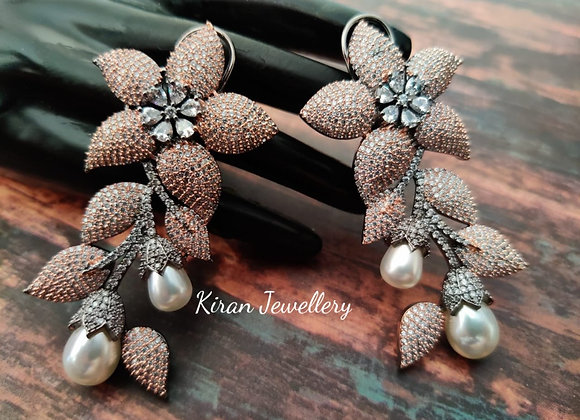 Black Rose Polish Stylish Earrings