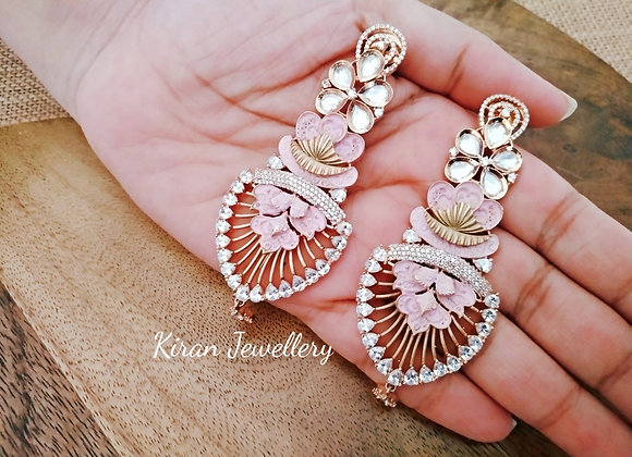 Pink AD Kundan Earrings