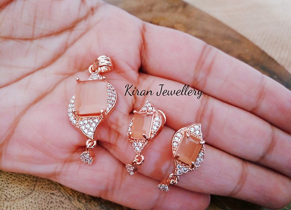 Orange Stone Pendant Set
