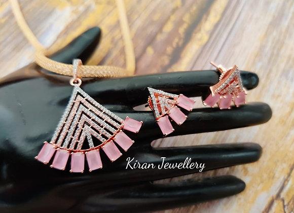 Pink Stone Stylish Pendant Set
