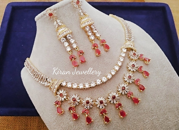 Double Line Ruby Stone  Necklace