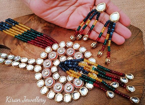 Multicolor mala Kundan Necklace Set