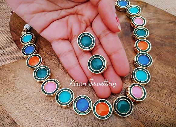 Multicolor Single Line Kundan Set